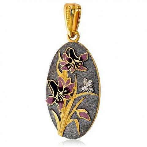 Подвеска «Лилия» (фиолетовые цветы)