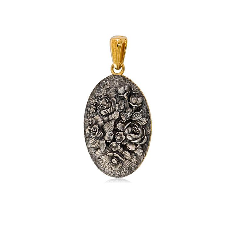 7 23 2  1 - Подвеска из серебра овальная «Жостово» (золочение)