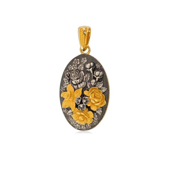 7 23 3  1 600x600 - Подвеска из серебра овальная «Жостово» (золочение), золотые цветы