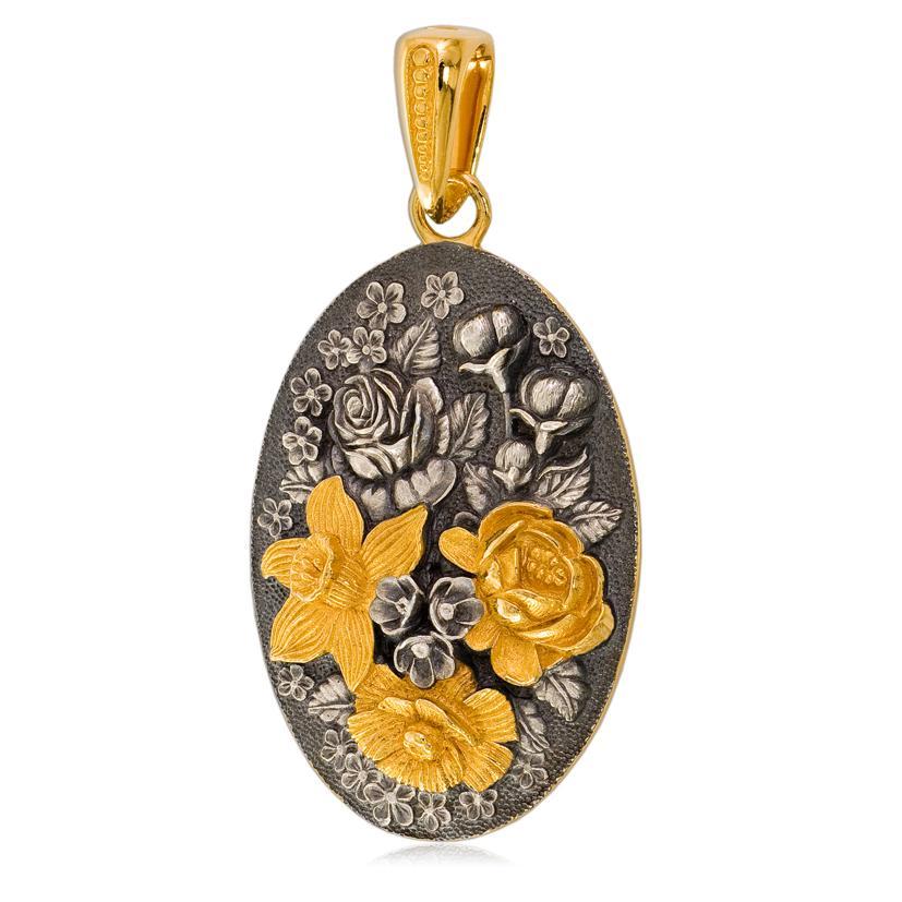 Подвеска овальная «Жостово» (золочение, золотые цветы)