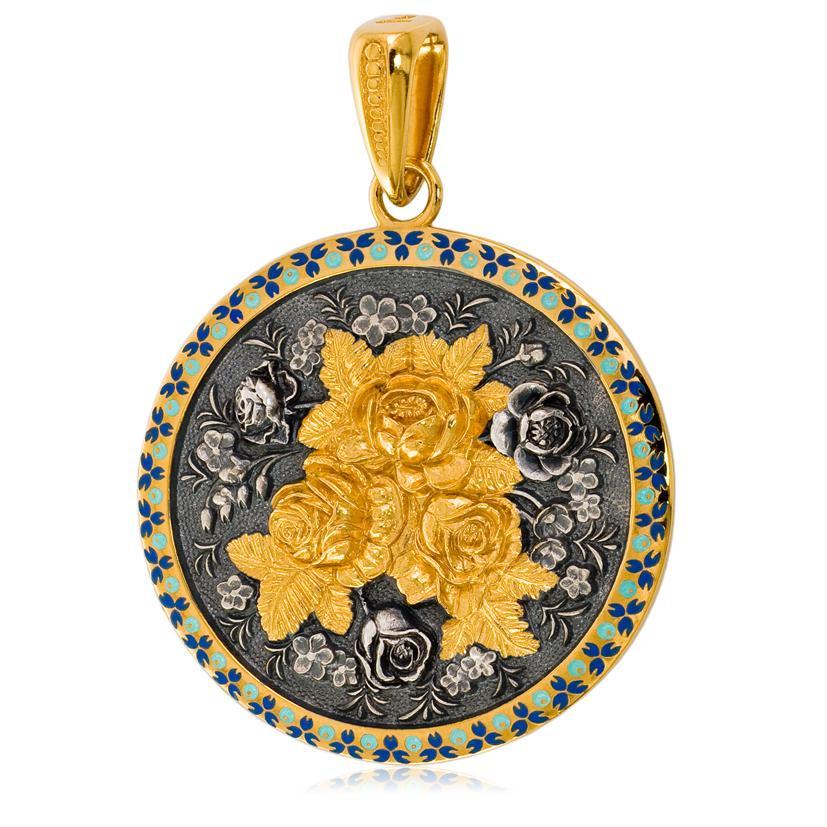 Подвеска круглая «Жостово» (золочение, золотые розы)