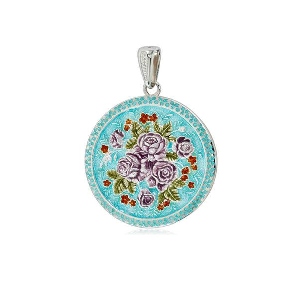 7 24 golubaya  1 1 600x600 - Подвеска из серебра «Жостовский букет», круглая (эмаль), голубая