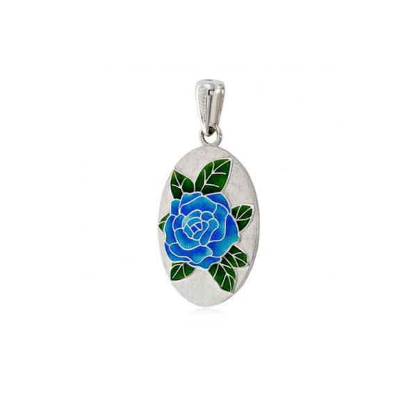 7 25 2s 1 600x600 - Серебряная подвеска «Роза», синяя