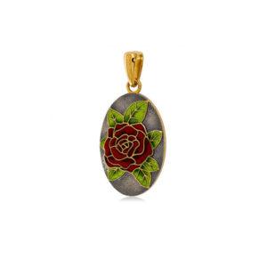 7 25 4z 1 300x300 - Серебряная подвеска «Роза» (золочение), красная