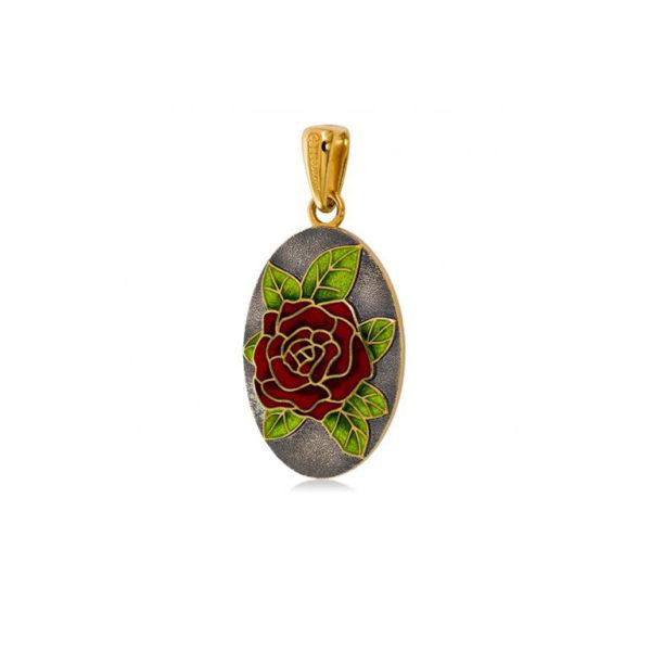 7 25 4z 1 600x600 - Серебряная подвеска «Роза» (золочение), красная