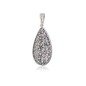 7 53 2s 768x768 1 300x300 - Серебряная подвеска «Росинка», розовая с фианитами