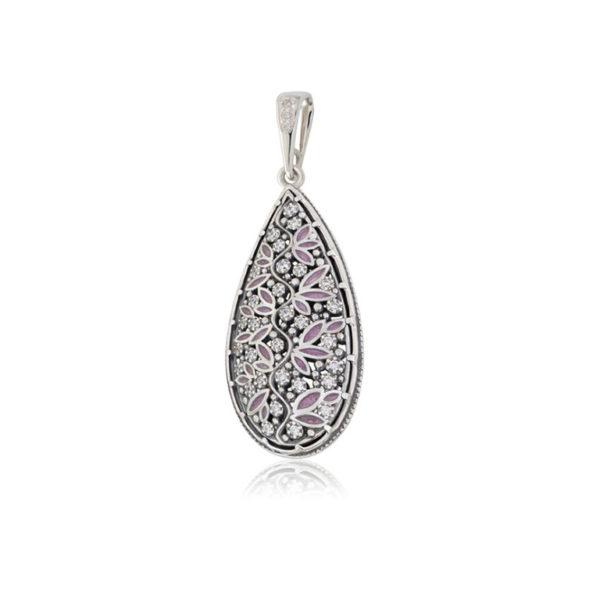 7 53 2s 768x768 1 600x600 - Серебряная подвеска «Росинка», розовая с фианитами
