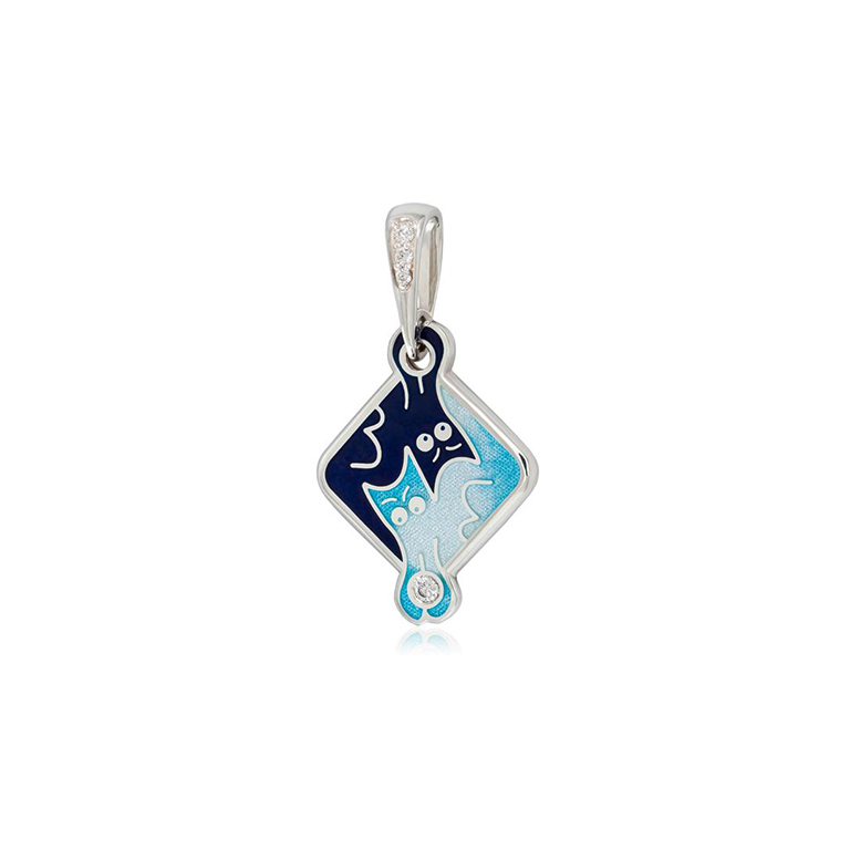 7 59 1s  1 - Серебряная подвеска «Котики Инь-Ян», синяя