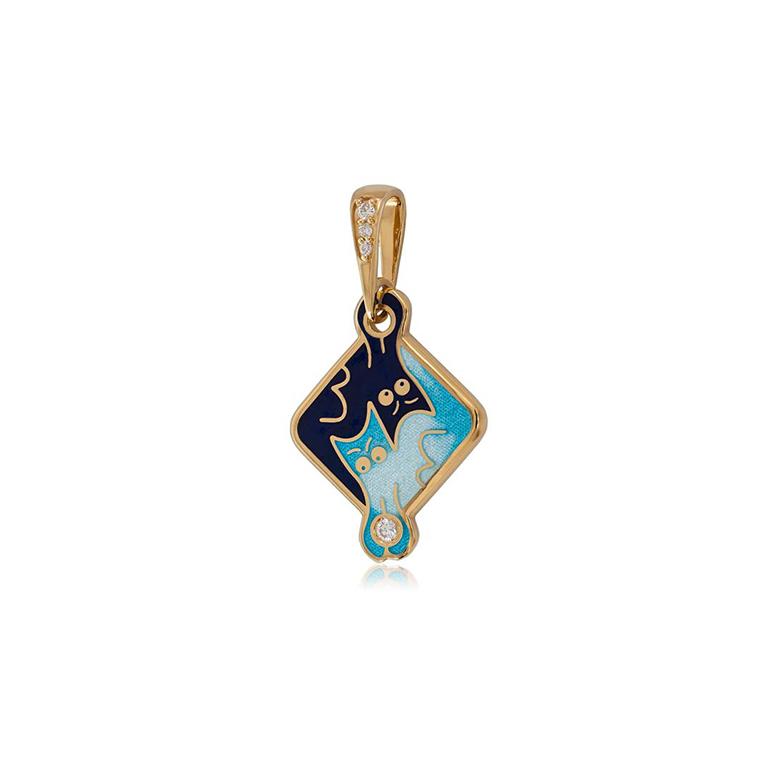 7 59 1z  1 - Подвеска из серебра «Котики Инь-Ян» (золочение), синяя с фианитами