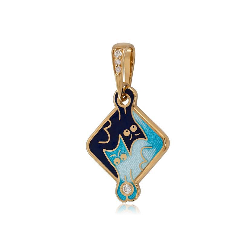 Подвеска с золочением «Котики Инь-Ян», синяя