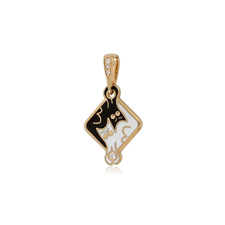7 59 2z  2 - Серебряная подвеска «Котики Инь-Ян» (золочение), черно-белая с фианитами