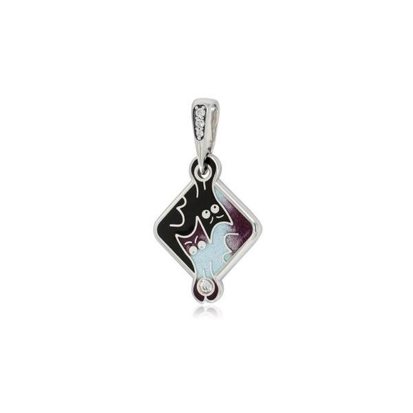 7 59 3s  1 600x600 - Подвеска из серебра «Котики Инь-Ян», фиолетовая