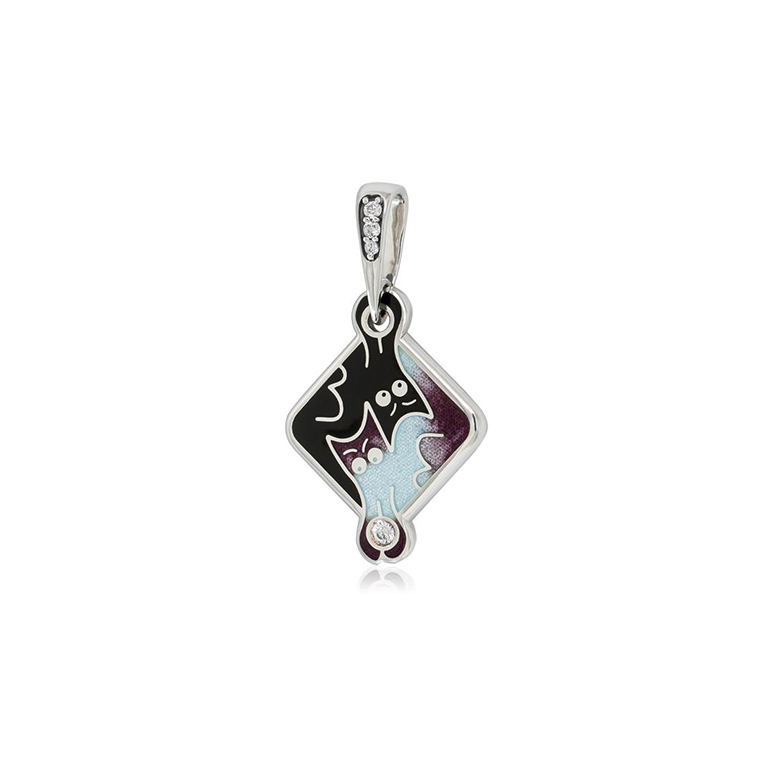 7 59 3s  1 - Подвеска из серебра «Котики Инь-Ян», фиолетовая