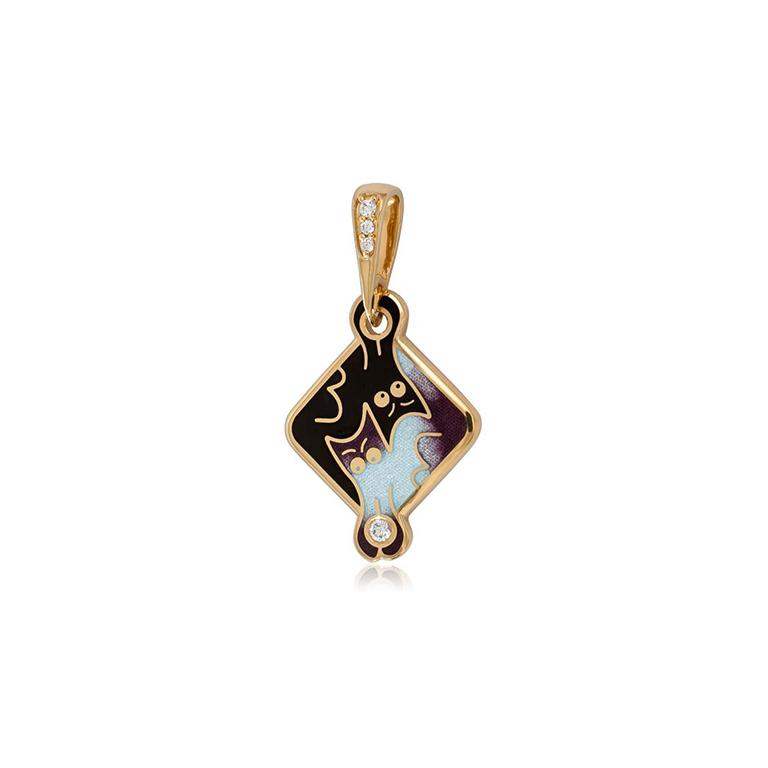 7 59 3z  2 - Серебряная подвеска «Котики Инь-Ян» (золочение), фиолетовая с фианитами