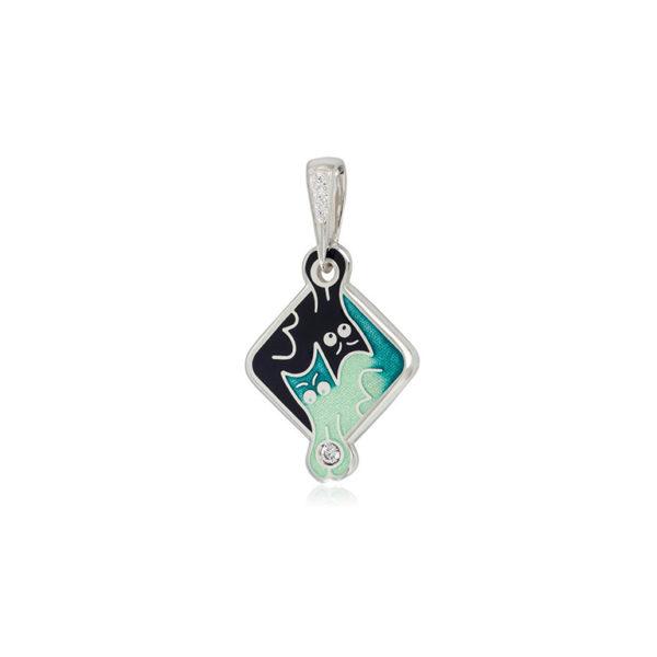7 59 4s  1 600x600 - Подвеска из серебра «Котики Инь-Ян», зеленая