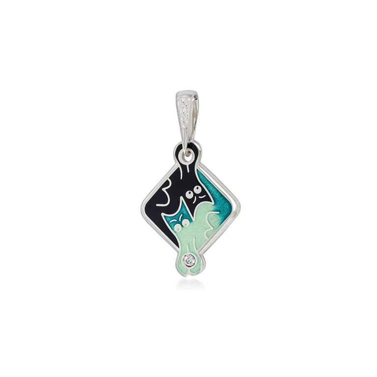 7 59 4s  1 - Подвеска из серебра «Котики Инь-Ян», зеленая