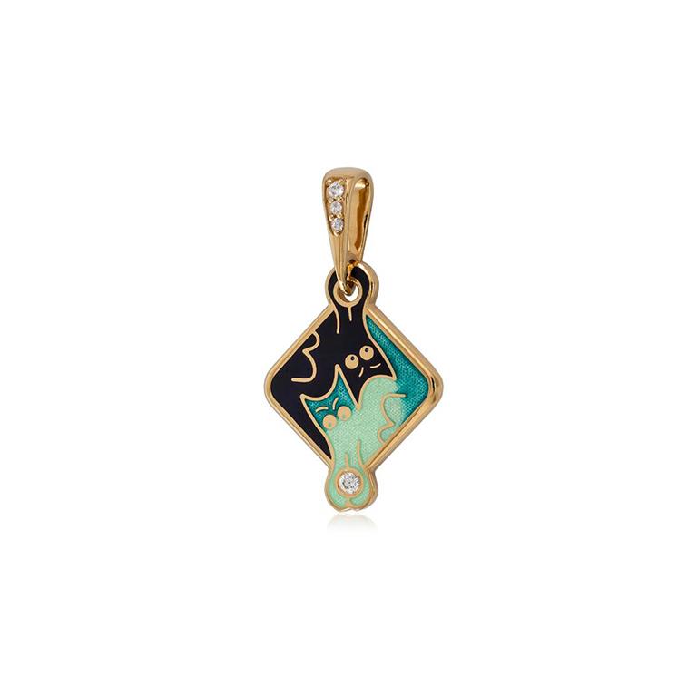 7 59 4z  1 - Серебряная подвеска «Котики Инь-Ян» (золочение), зеленая с фианитами