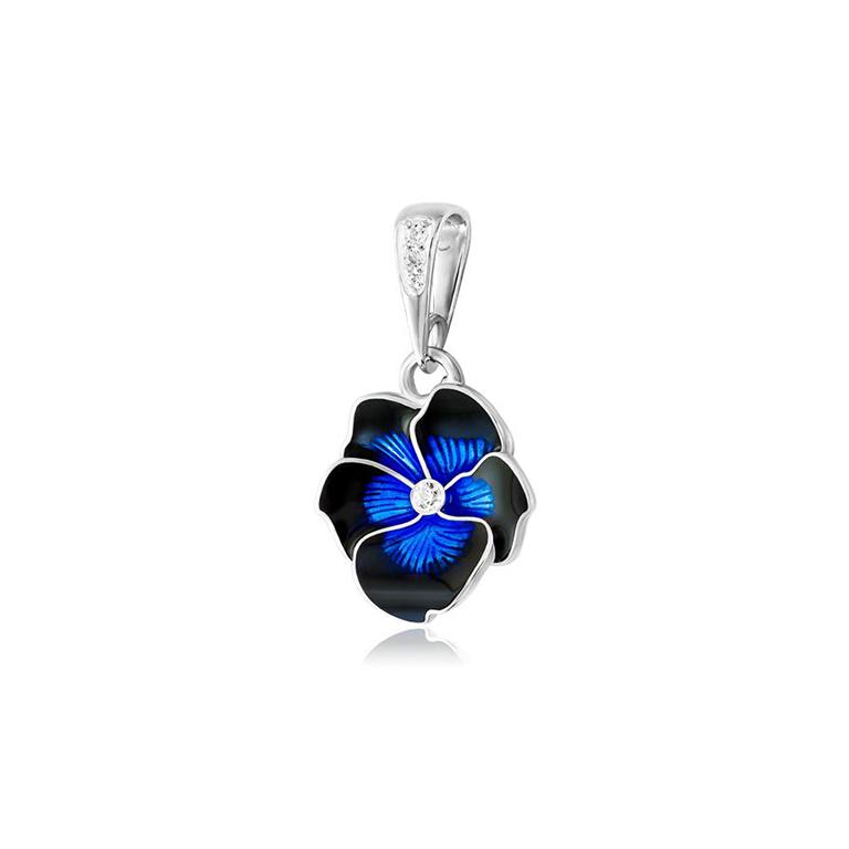 7 69 1 1s 1 - Подвеска из серебра «Анютины глазки», темно-синяя с фианитами