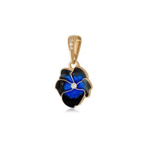 7 69 1 1z 1 300x300 - Подвеска из серебра «Анютины глазки» (золочение), темно-синяя