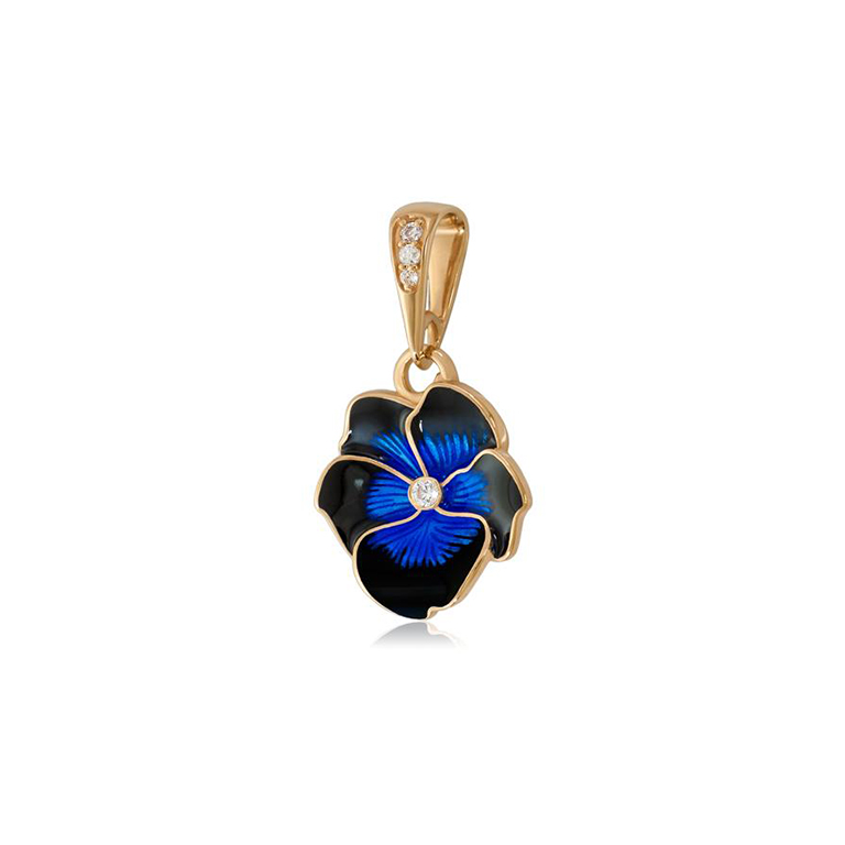 7 69 1 1z 1 - Подвеска из серебра «Анютины глазки» (золочение), темно-синяя