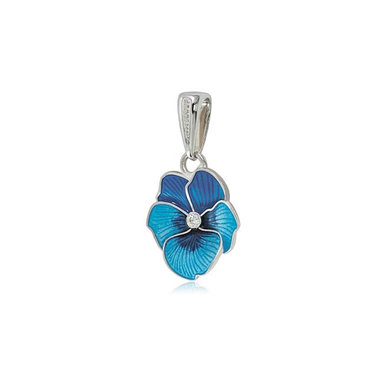 7 69 1 2s 1 - Серебряная подвеска «Анютины глазки», голубая с фианитами