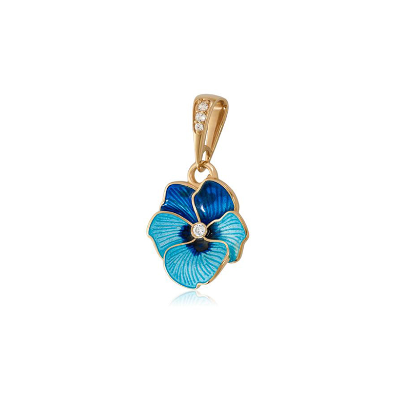 7 69 1 2z 1 - Подвеска из серебра  «Анютины глазки» (золочение), голубая
