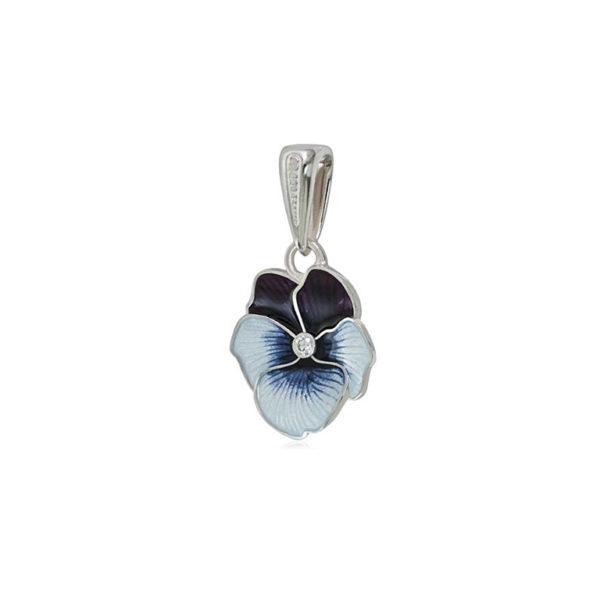 7 69 1 4s 1 600x600 - Подвеска из серебра «Анютины глазки», темно-синяя с фианитами