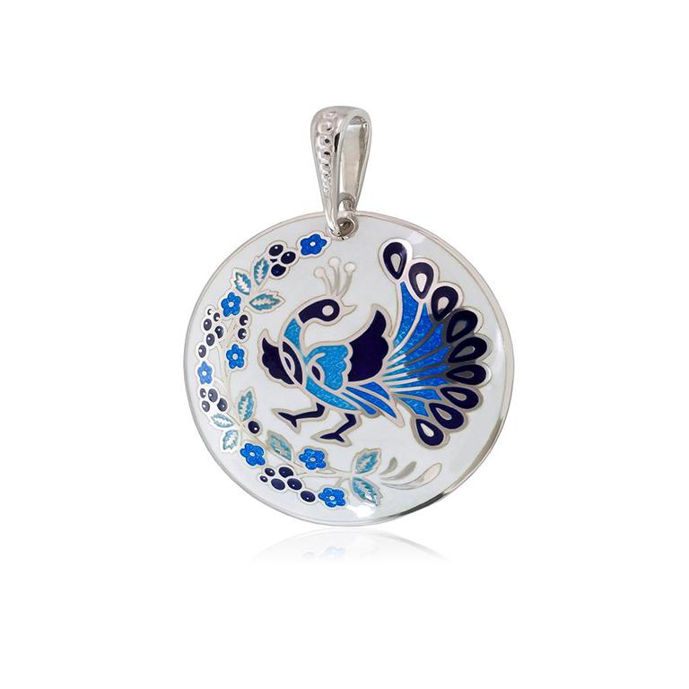 7 92 1s 1 - Подвеска из серебра «По зернышку», бело-синяя