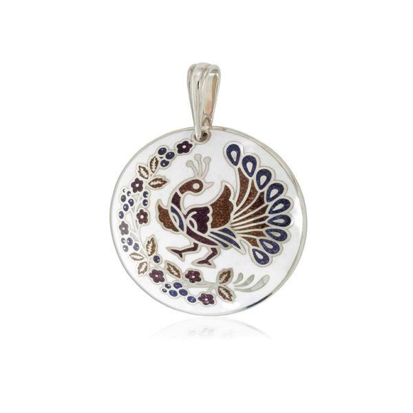7 92 2s 1 600x600 - Серебряная подвеска «По зернышку», бело-фиолетовая