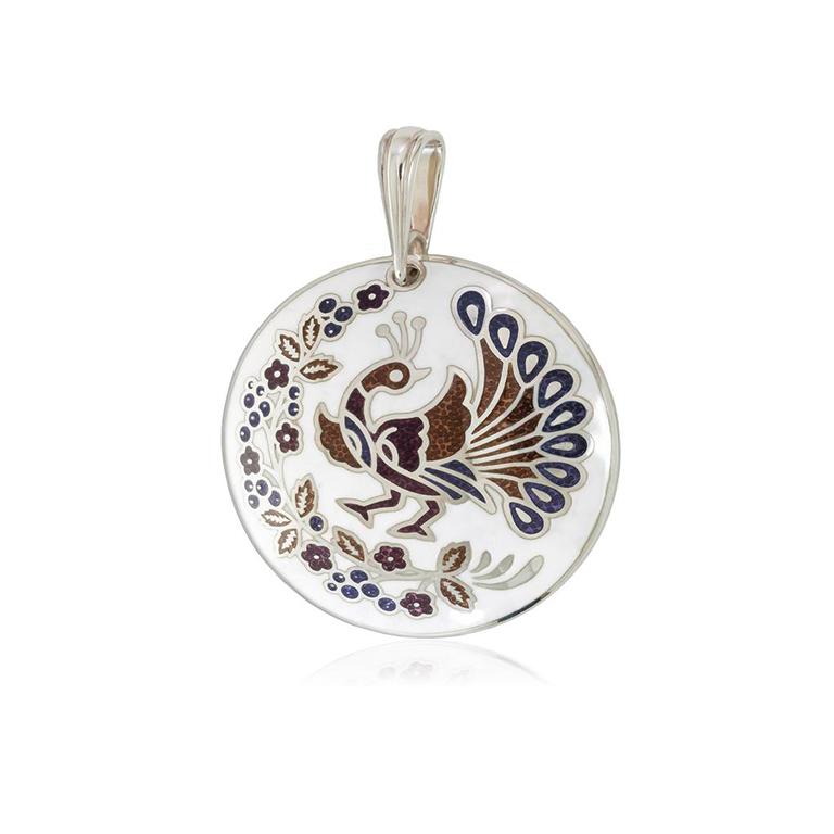 7 92 2s 1 - Серебряная подвеска «По зернышку», бело-фиолетовая