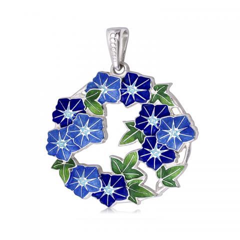 Petuniya - Подвеска из серебра «Петуния», голубая