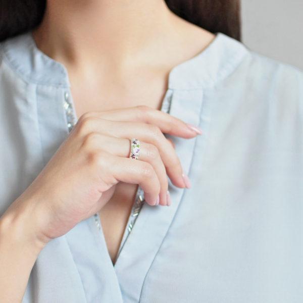 Кольцо «Барбарис» (золочение), бело-синяя