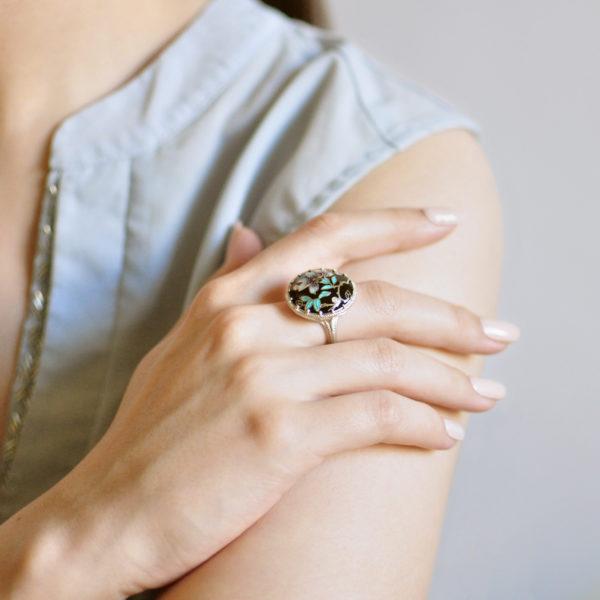 Serebro chernaya 5 600x600 - Перстень «Магнолия», черная