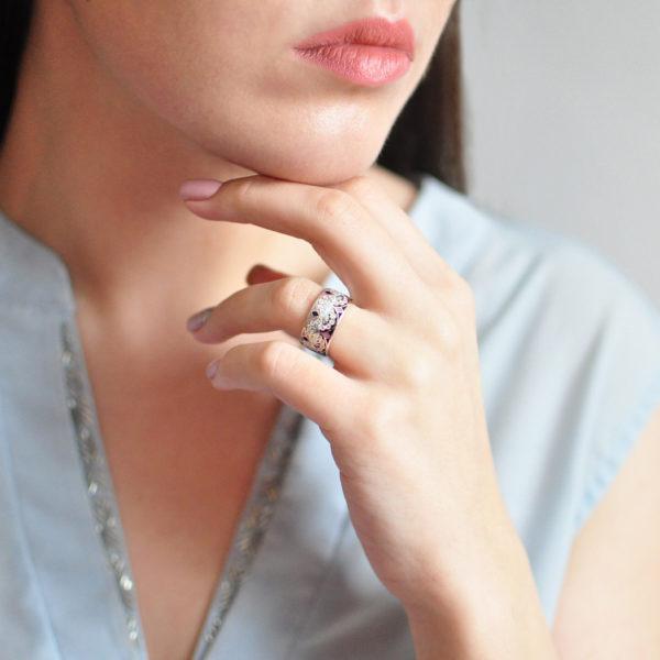 Serebro rozovaya 1 600x600 - Кольцо «Сады Семирамиды», розовое с фианитами