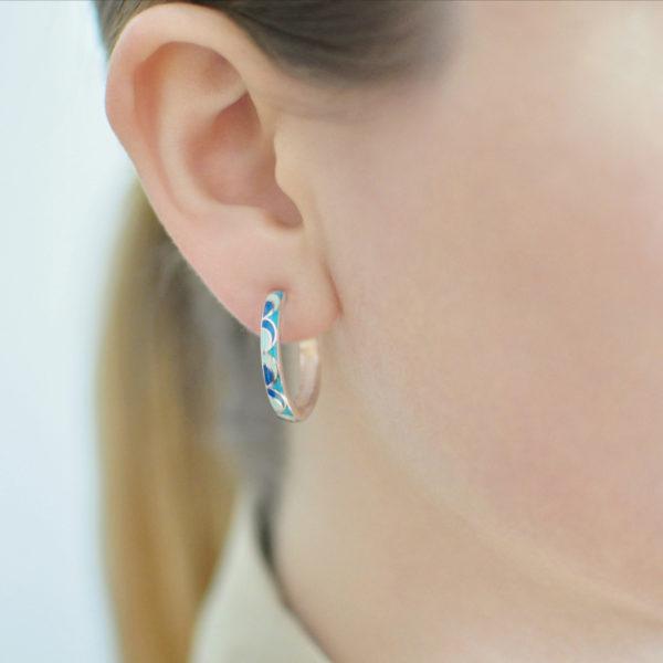 Serebro sine golubaya 2 600x600 - Серьги серебряные «Седмица», голубые