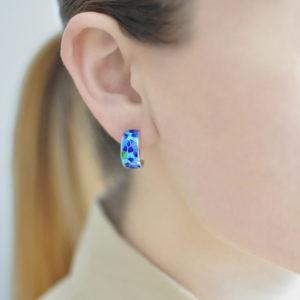Serebro sine golubaya 300x300 - Серьги-полукольца «Клематис», сине-голубые