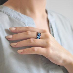 Serebro sinyaya 19 300x300 - Кольцо из серебра «По зернышку», синее
