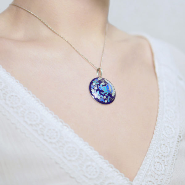 Serebro sinyaya 6 600x600 - Подвеска из серебра «По зернышку», синяя
