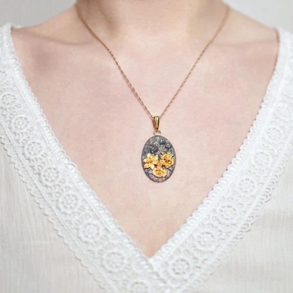 Zolochenie shema3 600x600 - Подвеска овальная «Жостово» (золочение, золотые цветы)