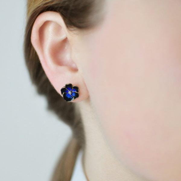 Zolochenie temno sinyaya 600x600 - Пуссеты «Анютины глазки» (золочение), синие