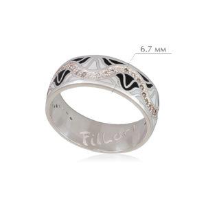afrodita 2 300x300 - Кольцо из серебра «Афродита», черно-белое с фианитами