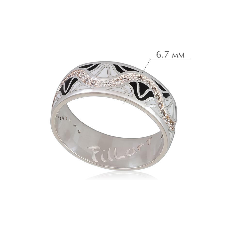 afrodita 2 - Кольцо из серебра «Афродита», черно-белое с фианитами