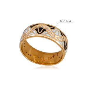 afrodita 5 300x300 - Кольцо из серебра «Афродита» (золочение), черно-белое с фианитами