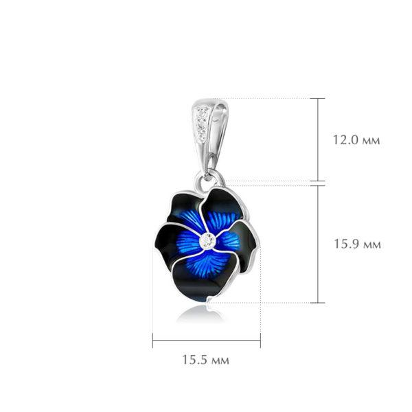 anyutiny razmery 5 600x600 - Подвеска из серебра «Анютины глазки», темно-синяя с фианитами