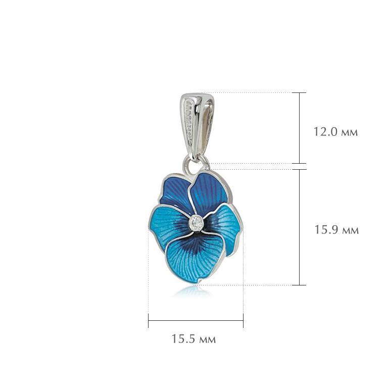 anyutiny razmery 6 - Серебряная подвеска «Анютины глазки», голубая с фианитами