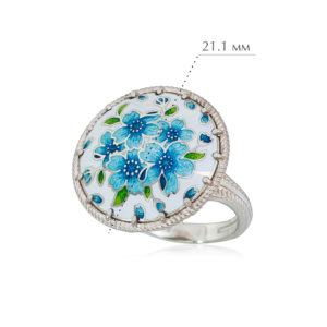 buket golubaya 300x300 - Перстень из серебра «Букет», голубая