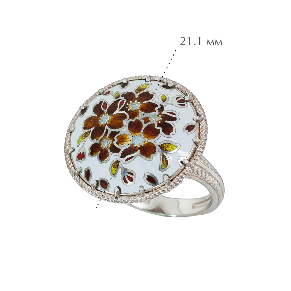 buket terrakotovaya - Перстень из серебра «Букет», терракотовый
