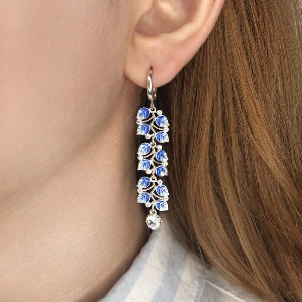 dlinnye sergi podveski melissa 600x600 - Длинные серьги-подвески серебряные «Мелисса», синие