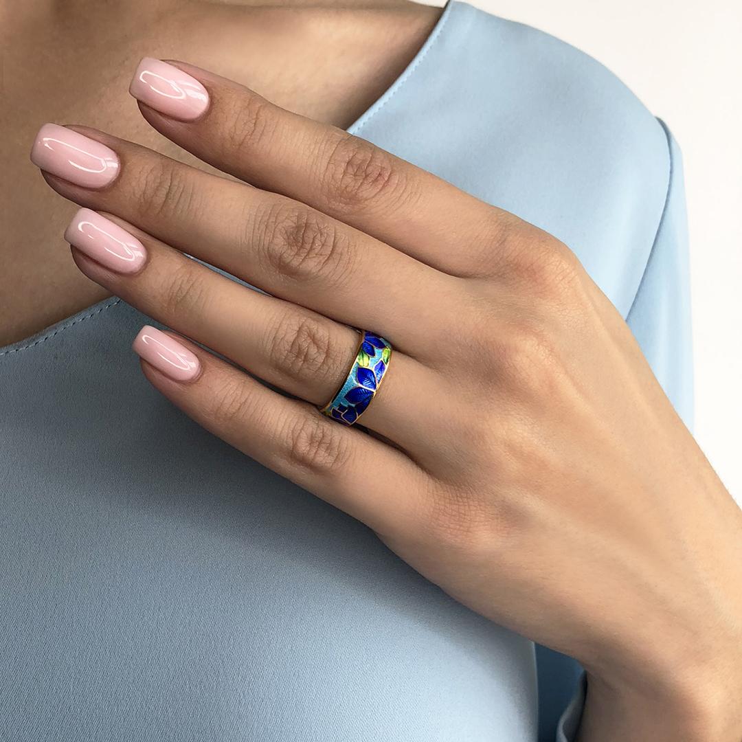 eto luchshe chem na sajte - Кольцо из серебра «Клематис» (золочение), сине-голубое