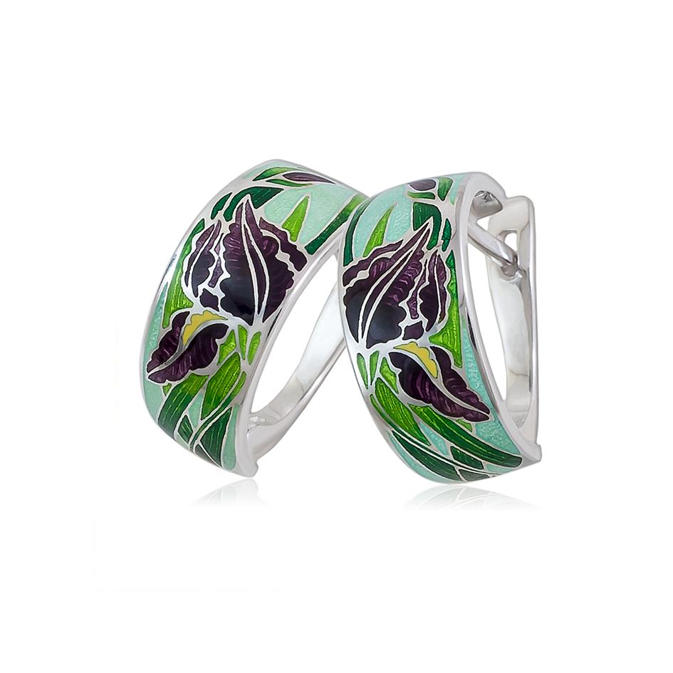 irisy 1 - Серьги-полукольца из серебра «Ирисы», зеленые